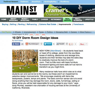 DIY Dorm Room Advice in MainStreet.com