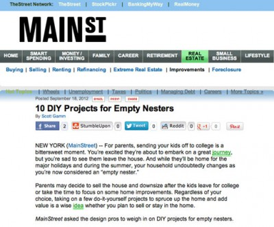 "Semerjian Interiors featured in Mainstreet.com ""DIY Projects for Empty Nesters"""