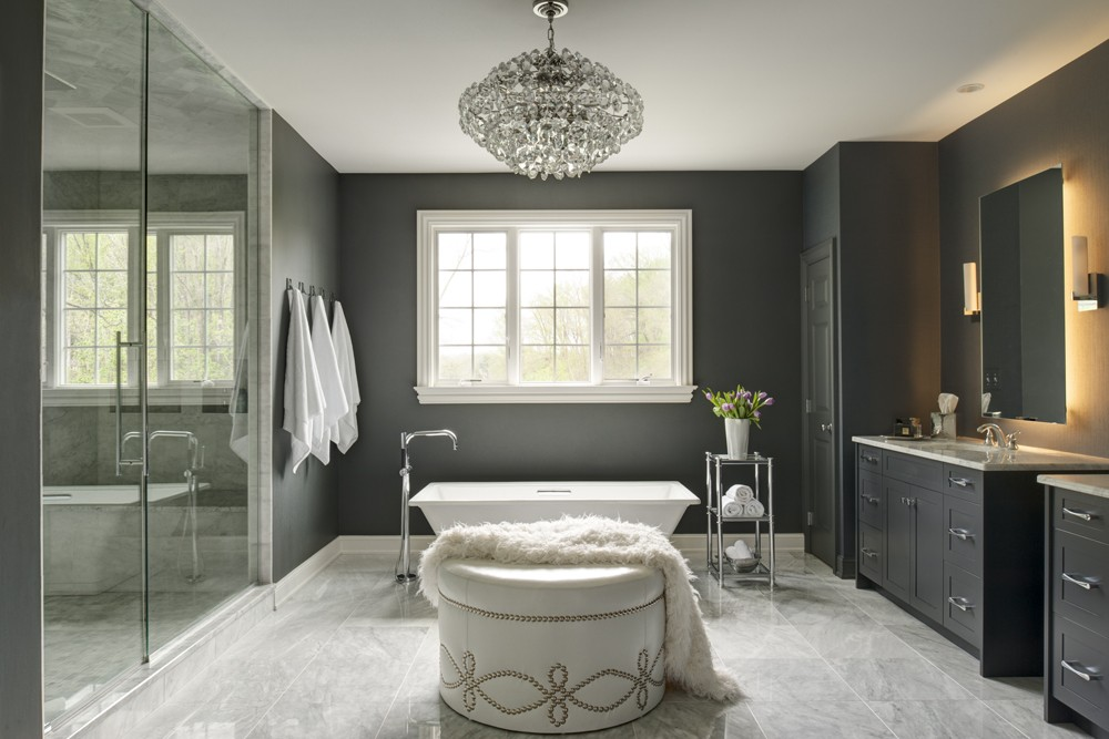Glamorous Master Bathroom With Crystal Chandelier